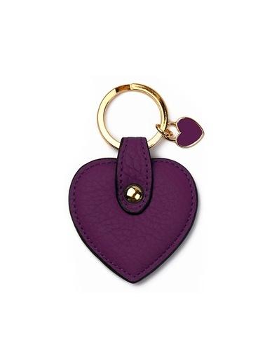 Leather & Paper Deri Kalp Anahtarlık Mor